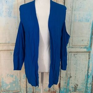 Silence and Noise cold shoulder open front blazer